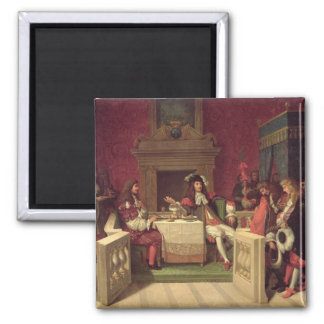 Moliere  Dining with Louis XIV  1857 2 Inch Square Magnet