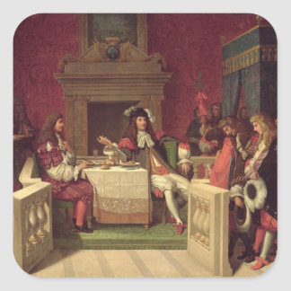 Moliere  Dining with Louis XIV  1857 Square Sticker