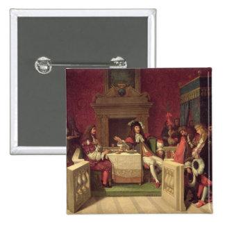 Moliere que cena con Louis XIV 1857 Pin Cuadrada 5 Cm