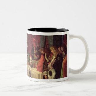 Moliere que cena con Louis XIV 1857 Taza De Dos Tonos