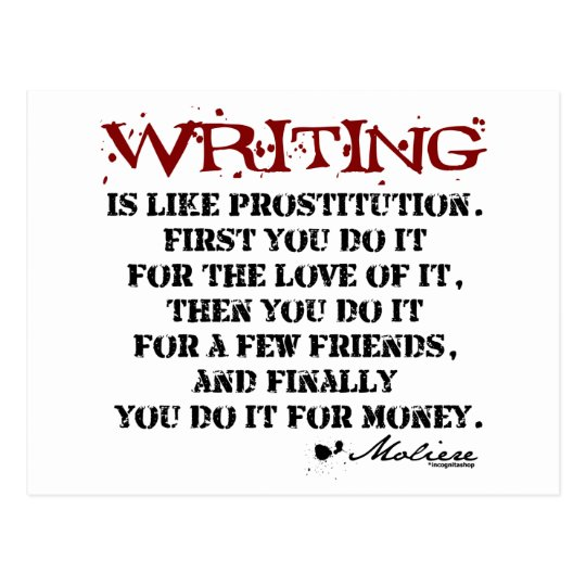 Moliere Writing Quote Postcard