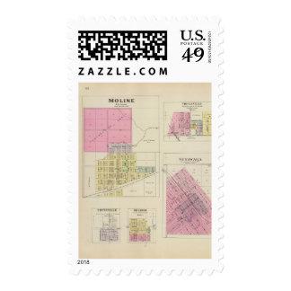 Moline, Circleville, Netawaka, Tippinville, Kansas Sello Postal