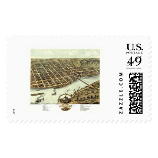 Moline, IL - Panoramic Map - 1869 Postage