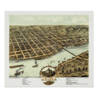 Moline, IL - Panoramic Map - 1869 Poster