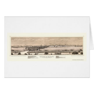 Moline, IL Panoramic Map - 1873 Greeting Cards