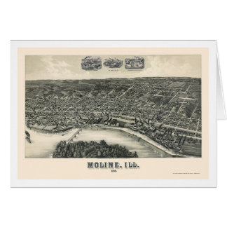Moline, IL Panoramic Map - 1889 Greeting Cards