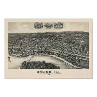 Moline, IL Panoramic Map - 1889 Poster