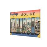 Moline, Illinois - escenas grandes de la letra Impresión En Lona Estirada