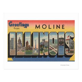 Moline, Illinois - Large Letter Scenes Postcard
