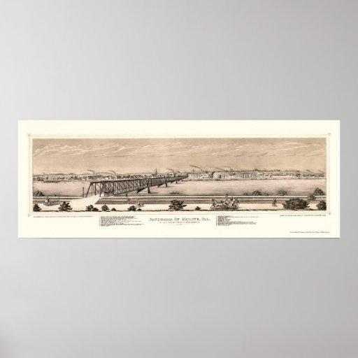 Moline, mapa panorámico de IL - 1873 Impresiones