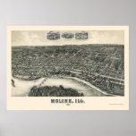 Moline, mapa panorámico de IL - 1889 Poster