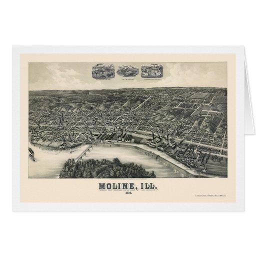 Moline, mapa panorámico de IL - 1889 Tarjeton