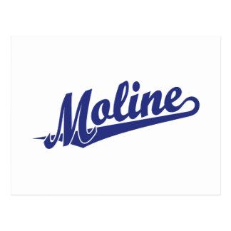 Moline script logo in blue postcard