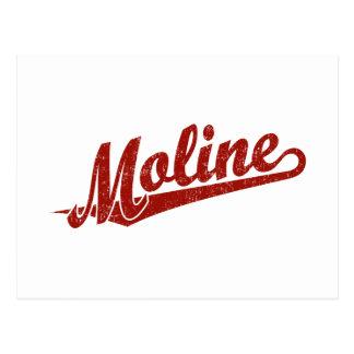 Moline script logo in red distressed postcard