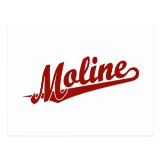 Moline script logo in red postcard