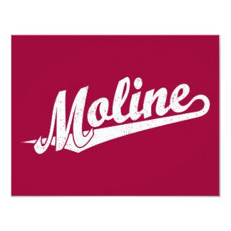 Moline script logo in white distressed 4.25x5.5 paper invitation card
