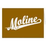 Moline script logo in white greeting card