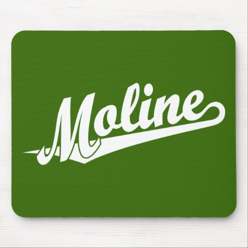 Moline script logo in white mouse pad