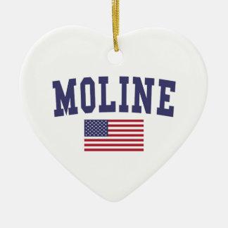 Moline US Flag Ceramic Ornament