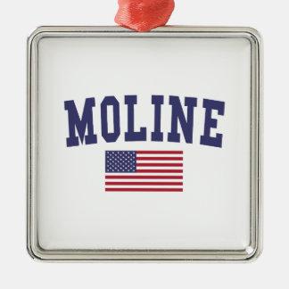 Moline US Flag Metal Ornament