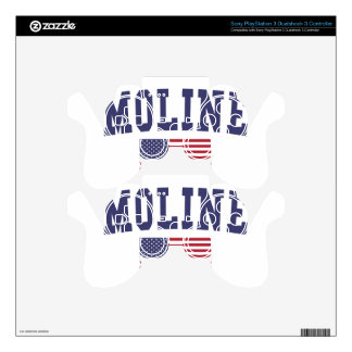Moline US Flag Skins For PS3 Controllers