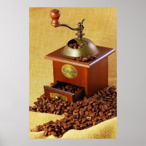 Molinillo de café Kaffeebohnen Póster