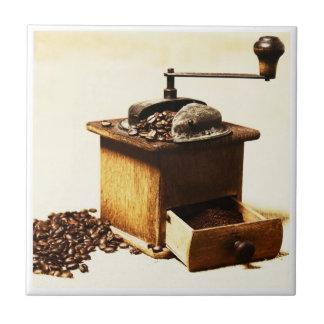 Molinillo de café representación en baldosa azulejo cuadrado pequeño