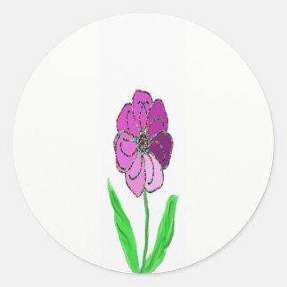 molinillo de viento de la flor pegatina redonda