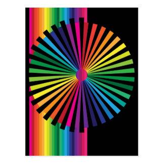 Molinillo de viento del arco iris tarjetas postales