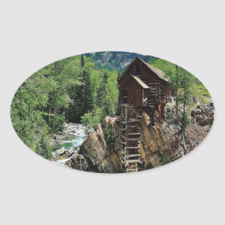Molino cristalino Colorado Pegatina Ovalada