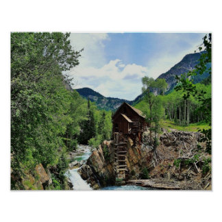 Molino de agua de la ladera de Colorado - molino c Póster