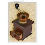 Molino de café antiguo tarjetón