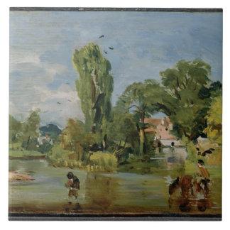 Molino de Flatford, c.1810-11 (aceite en el panel) Teja