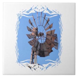 Molino de viento 1 azulejo cuadrado grande