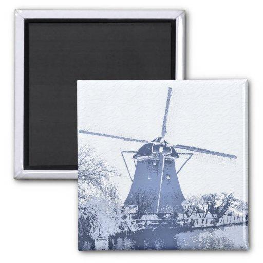 Molino de viento azul del holandés de Delft Iman Para Frigorífico