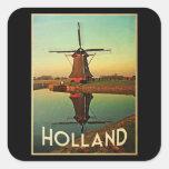 Molino de viento de Holanda Calcomanía Cuadrada Personalizada