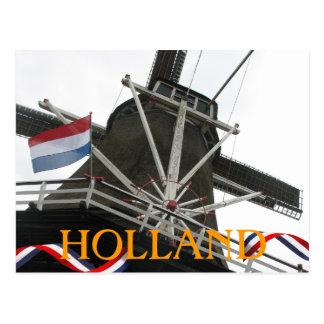 Molino de viento de Holanda y postal holandesa del