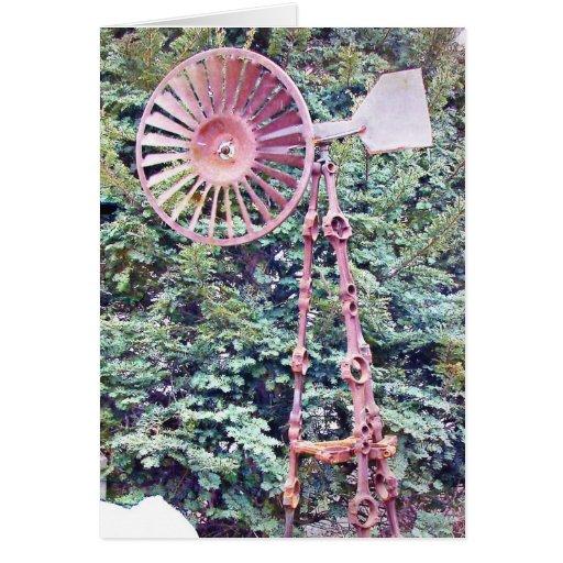 Molino de viento del arte del jardín tarjeta de felicitación