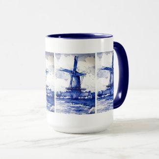 Molino de viento del azul de Delft Taza