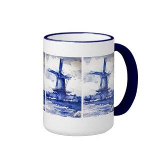 Molino de viento del azul de Delft Tazas