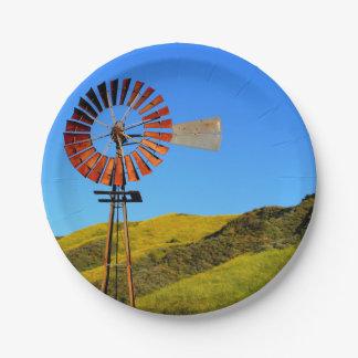 Molino de viento del bombeo de agua plato de papel de 7 pulgadas