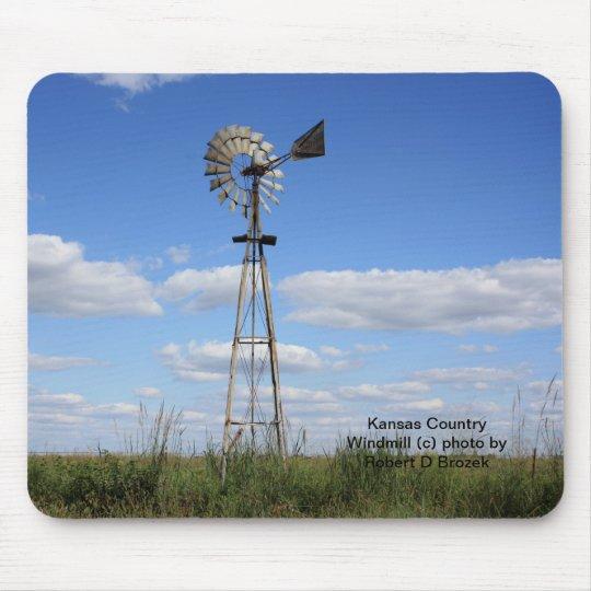 Molino de viento del país de Kansas Tapete De Ratones