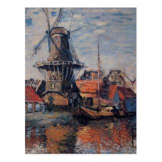 Molino de viento en el canal de Onbekende, Postales
