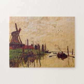 Molino de viento en la bella arte de Zaandam Monet Rompecabeza Con Fotos
