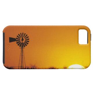 Molino de viento en la puesta del sol, Sinton, Funda Para iPhone SE/5/5s