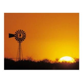 Molino de viento en la puesta del sol, Sinton, Postal