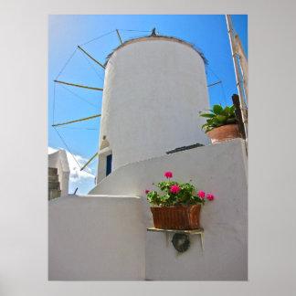 Molino de viento en Santorini Póster