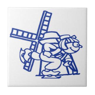 Molino de viento holandés azul del muchacho azulejo cuadrado pequeño