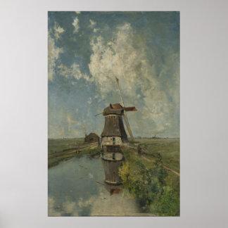 Molino de viento holandés en el canal Paul Gabriël Póster