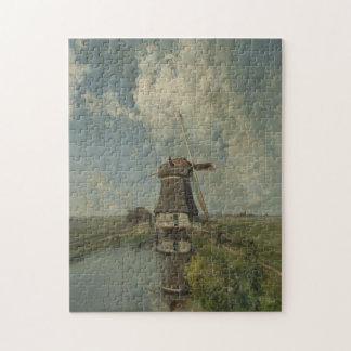 Molino de viento holandés en el canal Paul Gabriël Puzzle